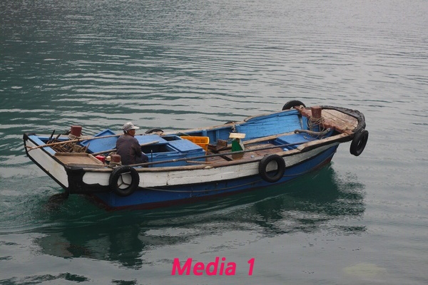 Main industry in Hong Do Island is fishing. A fisher is trying in his small boat. Picture provided by Sinan-gun